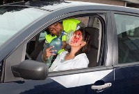 oxygen therapy - image of a woman recieving oxygen after a car accident