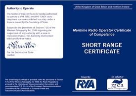 image of a UK SRC VHF Radio licence
